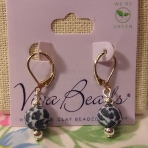 Viva Beads Blue Brook Pierced Earrings New